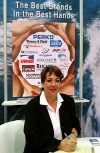 Lilly Diaz, VP of Sales, at the Dubai International Boat Show